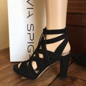 Via Spiga  Black Suede Platform Heels Sandals